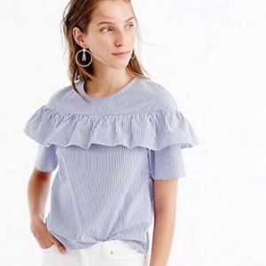 J. Crew Eddie ruffle top shirting stripe